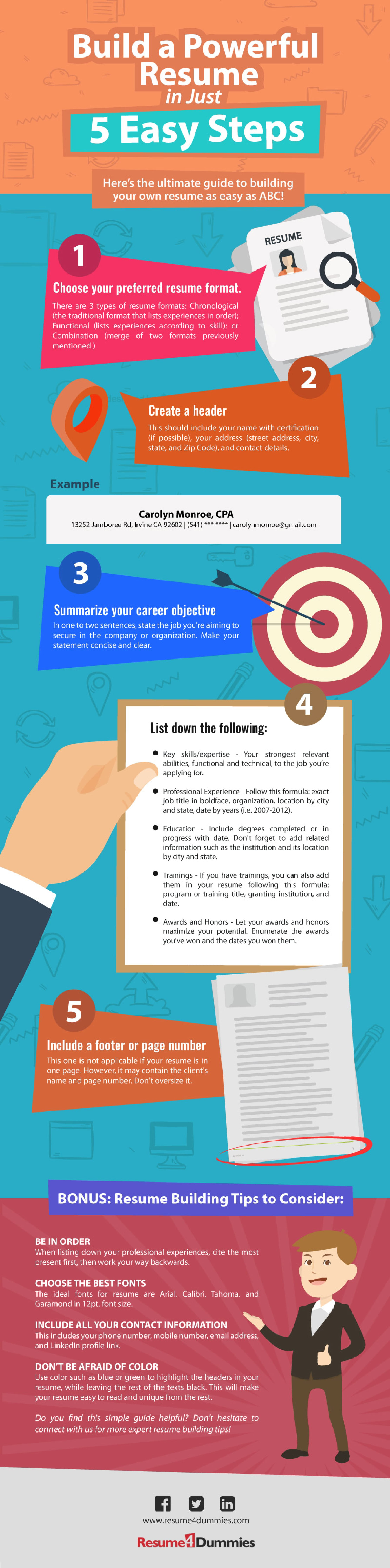 Build a Powerful Resume in Just 5 Easy Steps - Resume4Dummies (Infographic)